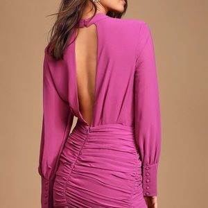 Major Inspo Magenta Ruched Long Sleeve Mini Dress